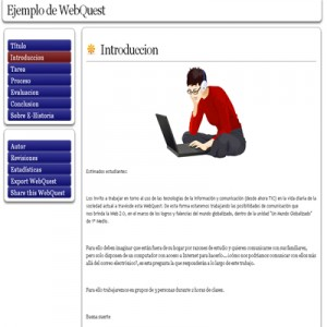 WebQuest Simple de Ejemplo Creada en Zunal